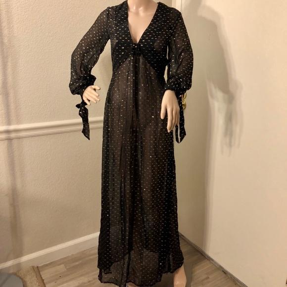Hm Dresses V Neck Long Sleeve Gold And Black Mesh Dress Poshmark